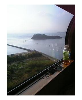 寝台列車から...
