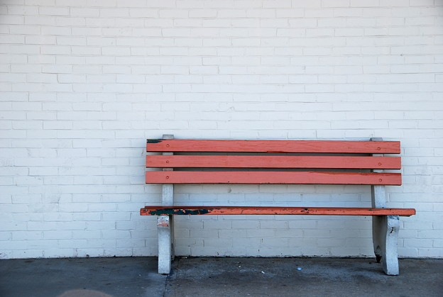 Photos: An Orange Bench against the White Wall