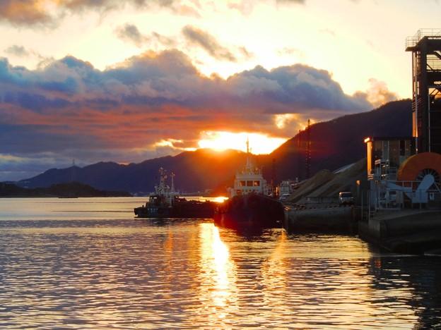 竜王山に沈む夕陽