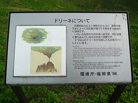 平尾台~茶ヶ床園地付近(5)ドリーネの説明